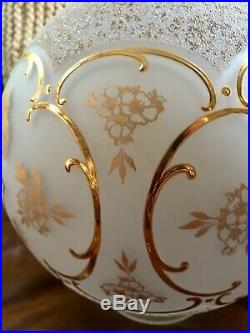 10 GOLD PAINTED SATIN GLASS GWTW BALL LAMP SHADE ART NOUVEAU Excellent