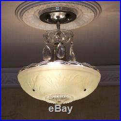 158b Vintage antique arT Deco Ceiling Light Lamp Fixture Jadeite Hall Bath Entry