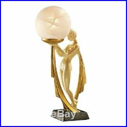 16 Art Deco Demure Miss Nude Frosted Glass Globe Illuminated Statue Lamp