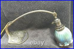 1900 Art Nouveau Piano Lamp With Documented Loetz Iridescent Glass Shade