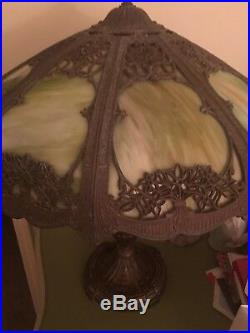 1910 Antique Victorian Art Nouveau Bent Green slag glass lamp. Filigree
