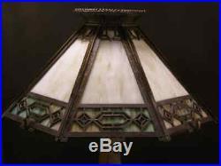 1910 Arts Crafts Mission Jewel Sgnd Bradley Hubbard Slag Glass Panel Bronze Lamp