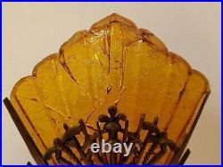 1920s-30s Rare Art Deco Metal Lamp, Original Amber Crackle Glass Slip Shade, NR