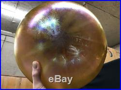 1920s 4 Light Hanging Electric Lamp Fixture Steuben Iridescent Art Glass Shade