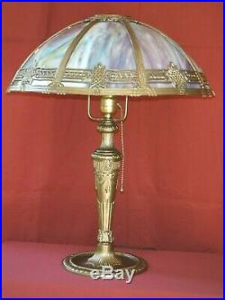 1920s ART DECO TABLE LAMP With SLAG GLASS SHADE