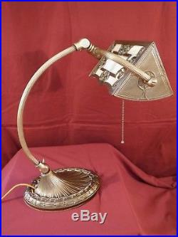 1920s ART NOUVEAU PIANO LAMP With SLAG GLASS SHADE