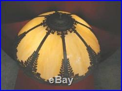 1920s ART NOUVEAU TABLE LAMP With SLAG GLASS SHADE