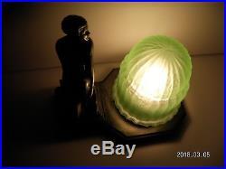 1920s Antique Art Deco Nude Lady Lamp Nuart Frankart Vintage Green Glass Globe