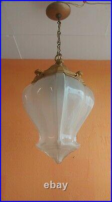 1930 French Art Deco Frosted Pendant Art Glass Chandelier Hanging Lamp Brass top