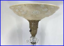 1930s Art Nouveau Torchiere Floor Lamp Marble Base Art Deco French Glass 62