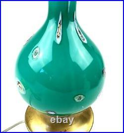 1960's MCM Murano Italian Glass Table Lamp Aqua Blue Millefiori