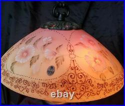 1999 Fenton Burmese Hibiscus Flower Memories Lamp #613/950 Gorgeous