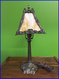 19 Arts and Crafts Slag Glass Shade Table Lamp Mission Hand Hammered Style
