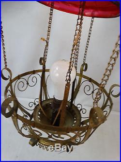 Antique VICTORIAN CRANBERRY SWIRL ART GLASS Pull Down OIL LAMP ...