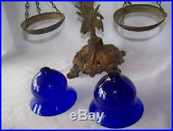 19th Century Art Nouveau Metal Float Lamp w Cobalt Glass Inserts
