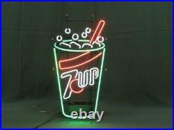 19x14 7up Seven UP Beer Neon Sign Light Lamp Decor Glass Windows Artwork Tube