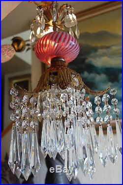1 Lily Crystal ceiling Lamp Chandelier Fenton Cranberry art Glass swirl Optic