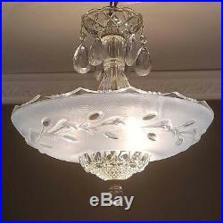 222 Vintage arT DEco Ceiling Glass Light Lamp Fixture Chandelier blue 3 light