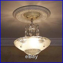 241 Vintage antique Glass Ceiling Light Lamp Fixture Chandelier art deco white
