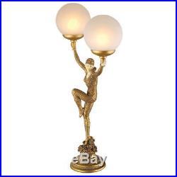 28 ART DECO DANCER LAMP SCULPTURE Lady Statue Frost Glass Globe Illuminated Orb