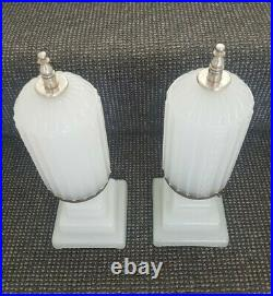 2 American Art Deco Milk Glass Lamps Torpedo Bullet Skyscraper Machine Age