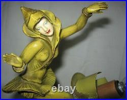 #2 Antique Art Deco Gerdago Lady Pixie Dancing Girl Statue Sculpture Glass Shade