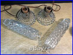 2 Art Deco Skyscraper Torpedo Bullet Glass Boudoir Lamps Vintage Set 12 Tall