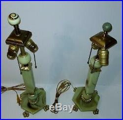 2 Art Deco Vaseline Glass Akro Agate Lamp set 1930s Houzex Houze FABULOUS
