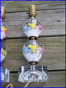 2 ST  CLAIR PAPERWEIGHT NIGHT STAND LAMPS 2 WEIGHT LAMP ALL