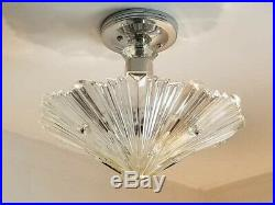 388b Vintage arT Deco Ceiling Light Lamp Fixture Glass Re-Wired