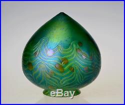 3.25 Fitter Hand Blown Bullet Glass Shade Iridescent Art Nouveau Lamp Shade