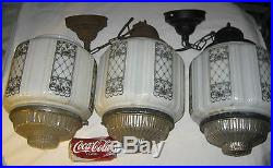 3 Antique Architectural Skyscraper Light Lamp Glass Globe Shade Art Deco Fixture