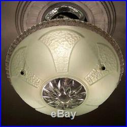 487 Vintage antique Glass Ceiling Light Lamp Fixture Chandelier art deco jadeite