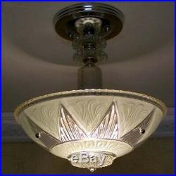 489 Vintage antique aRT DEco Ceiling Light Lamp Fixture Glass Chandelier jadeite