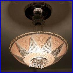 513 Vintage antique aRT DEco Ceiling Light Lamp Fixture Glass Chandelier pink