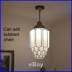 516b 30's aRT DEco CEILING LIGHT lamp fixture glass shade pendant Skyscraper