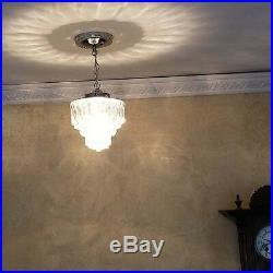 527b Vintage Antique arT Deco Ceiling Light Lamp Chrome Fixture Glass Hall Bath