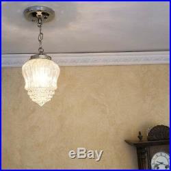 528b Vintage Antique arT Deco Ceiling Light Lamp Fixture Glass Hall Bath 1 of 2