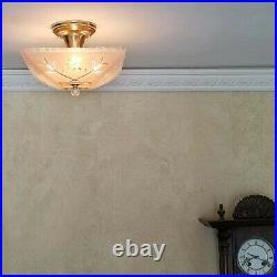 562b Vintage 40s art deco Glass Ceiling Light Lamp Fixture chandelier antique
