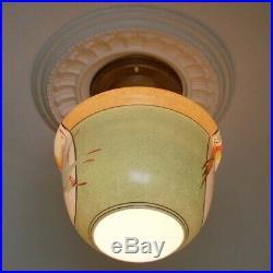 592 Vintage 40s aRT Deco Glass Ceiling Light Lamp Fixture antique porch bird