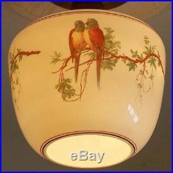 593 Vintage 40s aRT Deco Glass Ceiling Light Lamp Fixture antique porch bird