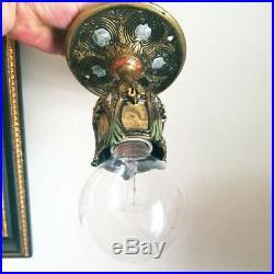 607b Vintage Antique 20 Ceiling Light Lamp fixture aRt Nouveau hall closet porch