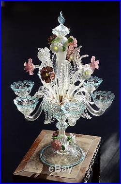 60s MURANO Table Lamp ITALIAN ART GLASS Chandelier Mid Century Modern Venetian