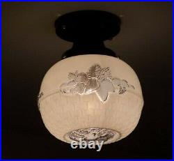 751 Vintage Antique aRT Deco Glass Globe Shade Ceiling Light Lamp Fixture