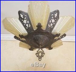 756b Antique arT Deco Ceiling Lamp Light Fixture Glass Slip Shade Chandelier