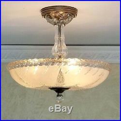 761b Vintage 40s art deco Glass Ceiling Light Lamp Fixture chandelier antique