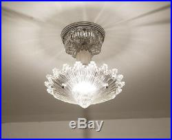 790 Vintage arT Deco Ceiling Light Lamp Fixture Glass Re-Wired 1 of 3