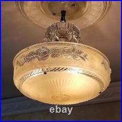 853b Vintage antique arT Deco Glass Shade Ceiling Light Lamp Fixture Chandelier