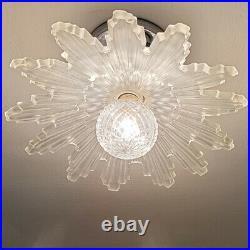 873b Vintage Antique arT Deco Starburst Ceiling Light Glass Shade Lamp fixture