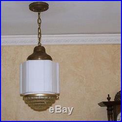 958 Vintage aRT DEco 40's Ceiling Light Lamp Fixture Glass bath ANTIQUE 1 of 6